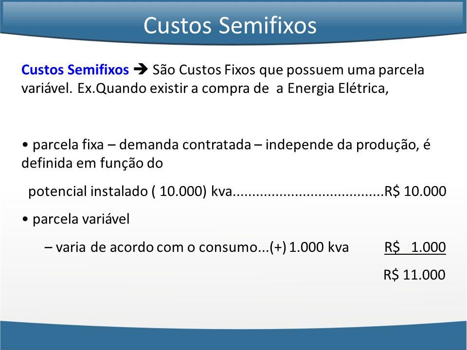 Custos Semifixos São Custos Fixos que possuem uma parcela variável. Ex.Quando existir a compra de a Energia Elétrica, parcela fixa – demanda contratad