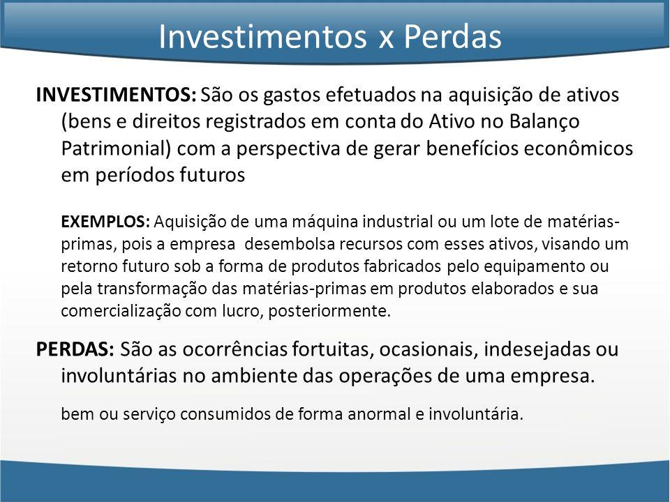INVESTIMENTOS: São os gastos efetuados na aquisição de ativos (bens e direitos registrados em conta do Ativo no Balanço Patrimonial) com a perspectiva