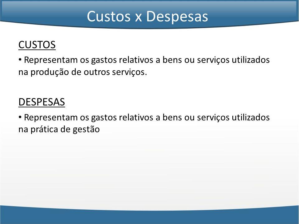 CUSTOS Representam os gastos relativos a bens ou serviços utilizados na produção de outros serviços. DESPESAS Representam os gastos relativos a bens o