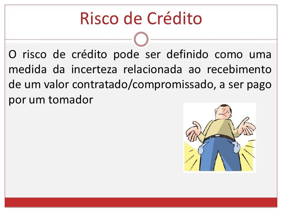 O risco de crédito pode ser definido como uma medida da incerteza relacionada ao recebimento de um valor contratado/compromissado, a ser pago por um t