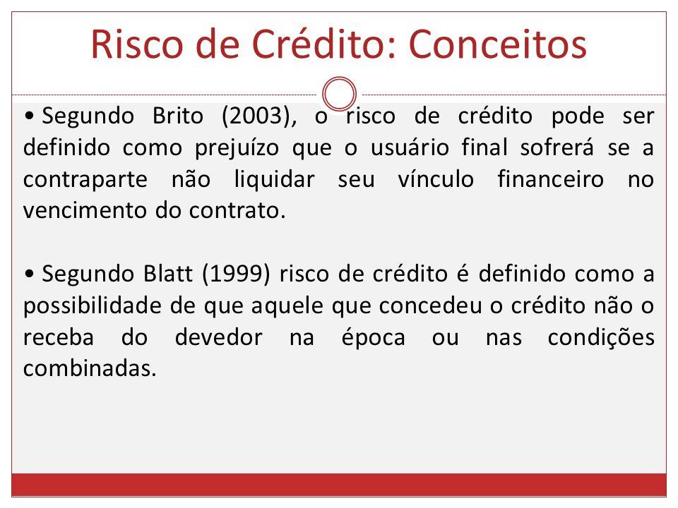 Segundo Brito (2003), o risco de crédito pode ser definido como prejuízo que o usuário final sofrerá se a contraparte não liquidar seu vínculo finance