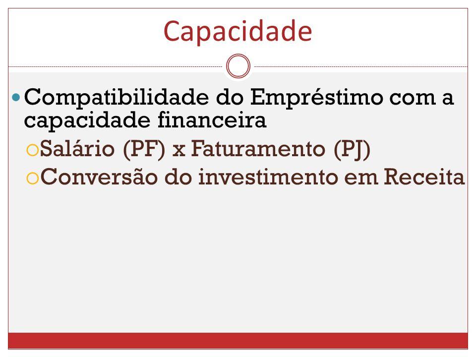 Compatibilidade do Empréstimo com a capacidade financeira Salário (PF) x Faturamento (PJ) Conversão do investimento em Receita Capacidade