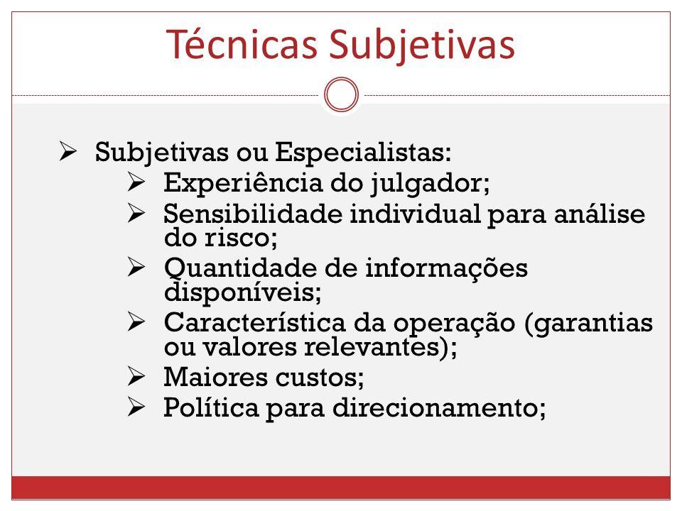 Subjetivas ou Especialistas: Experiência do julgador; Sensibilidade individual para análise do risco; Quantidade de informações disponíveis; Caracterí