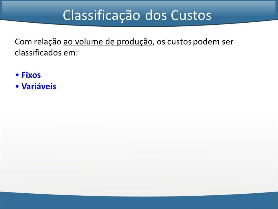 Com relação ao volume de produção, os custos podem ser classificados em: Fixos Variáveis Classificação dos Custos