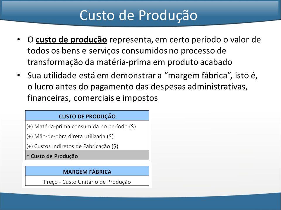 Custo de Produção O custo de produção representa, em certo período o valor de todos os bens e serviços consumidos no processo de transformação da maté