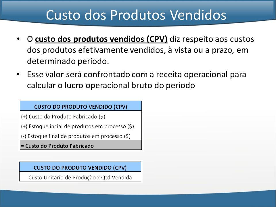 Custo dos Produtos Vendidos O custo dos produtos vendidos (CPV) diz respeito aos custos dos produtos efetivamente vendidos, à vista ou a prazo, em det