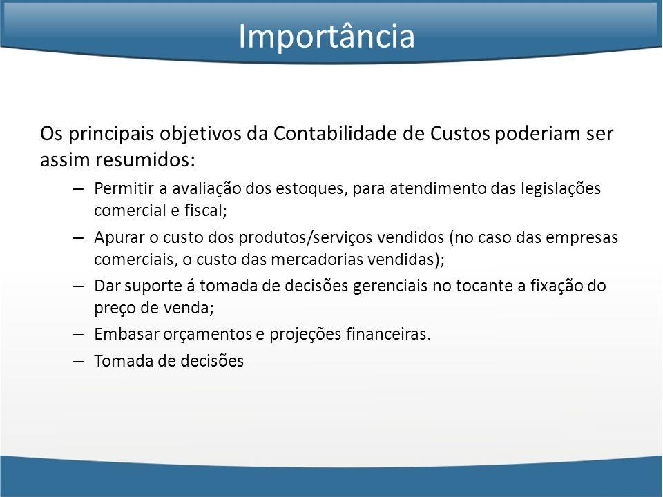 Os principais objetivos da Contabilidade de Custos poderiam ser assim resumidos: – Permitir a avaliação dos estoques, para atendimento das legislações