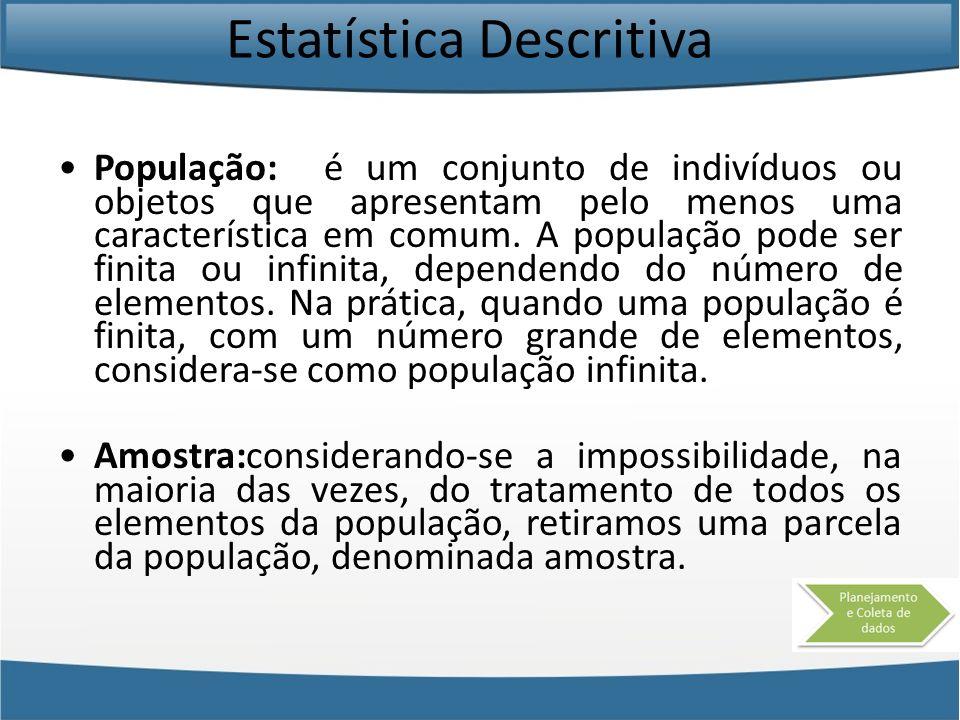 Estatística Descritiva População: é um conjunto de indivíduos ou objetos que apresentam pelo menos uma característica em comum. A população pode ser f