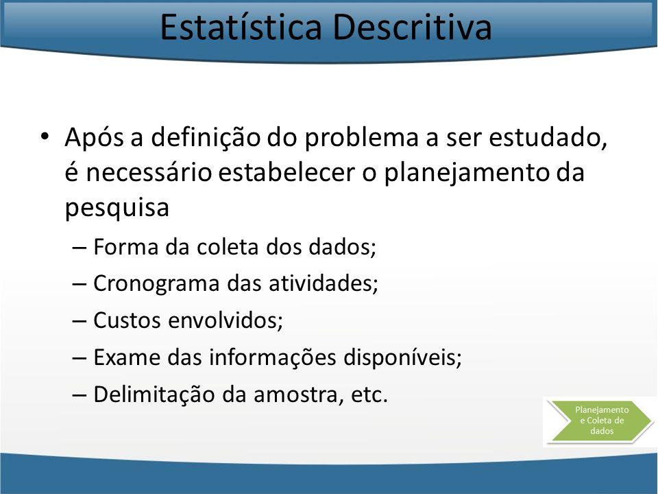 Estatística Descritiva Após a definição do problema a ser estudado, é necessário estabelecer o planejamento da pesquisa – Forma da coleta dos dados; –