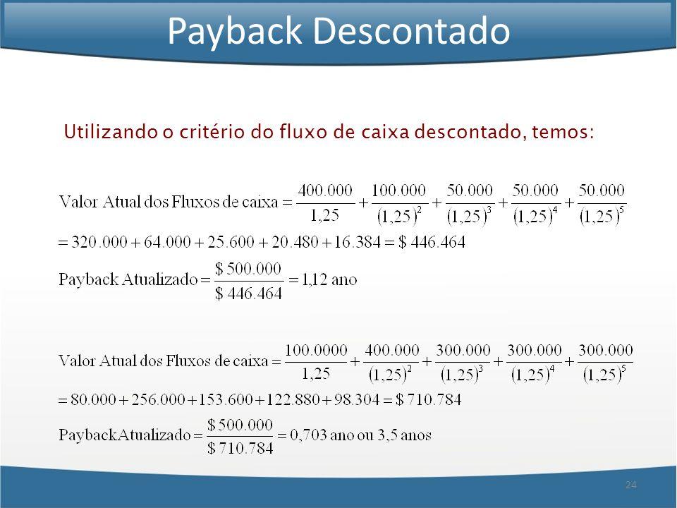 24 Payback Descontado Utilizando o critério do fluxo de caixa descontado, temos: