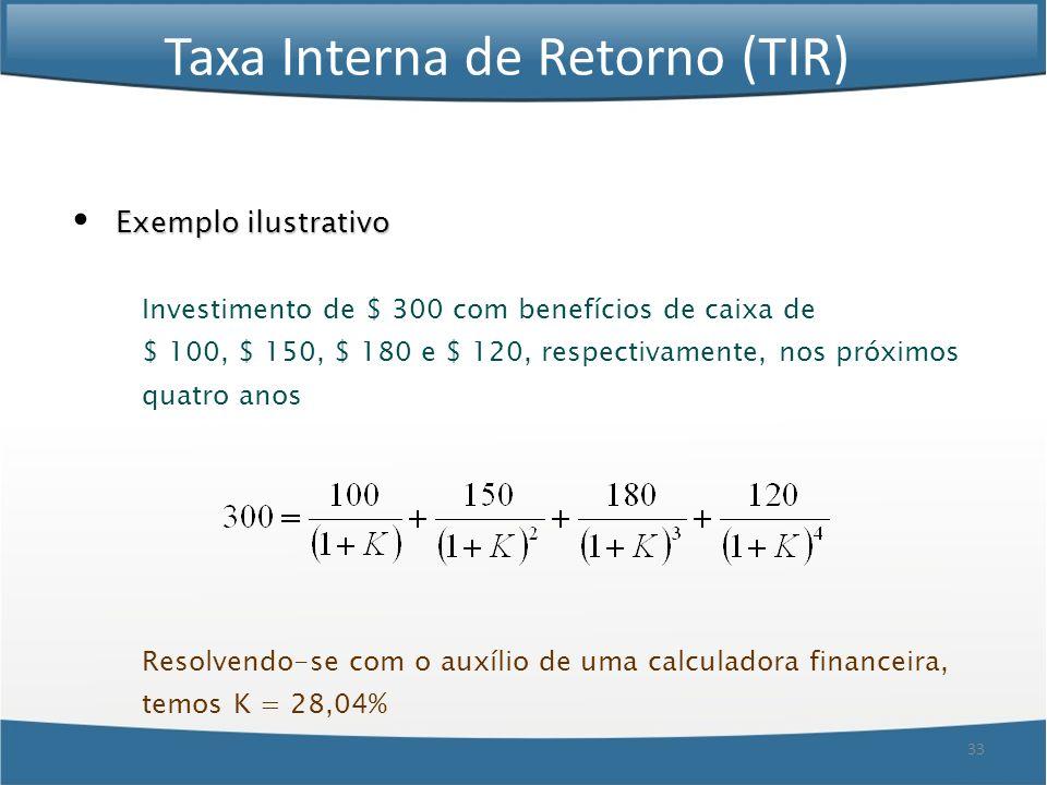 33 Taxa Interna de Retorno (TIR) Exemplo ilustrativo Investimento de $ 300 com benefícios de caixa de $ 100, $ 150, $ 180 e $ 120, respectivamente, no