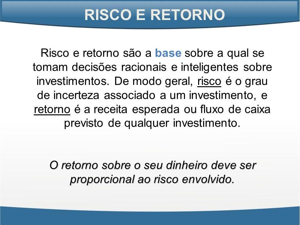 RISCO E RETORNO Risco e retorno são a base sobre a qual se tomam decisões racionais e inteligentes sobre investimentos. De modo geral, risco é o grau