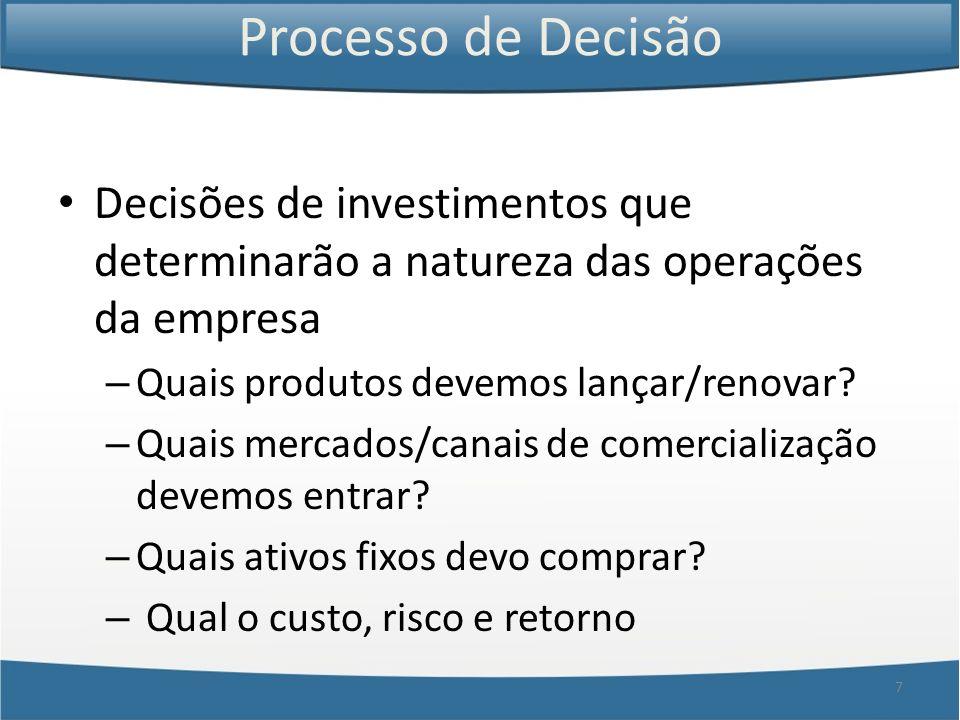 7 Processo de Decisão Decisões de investimentos que determinarão a natureza das operações da empresa – Quais produtos devemos lançar/renovar? – Quais