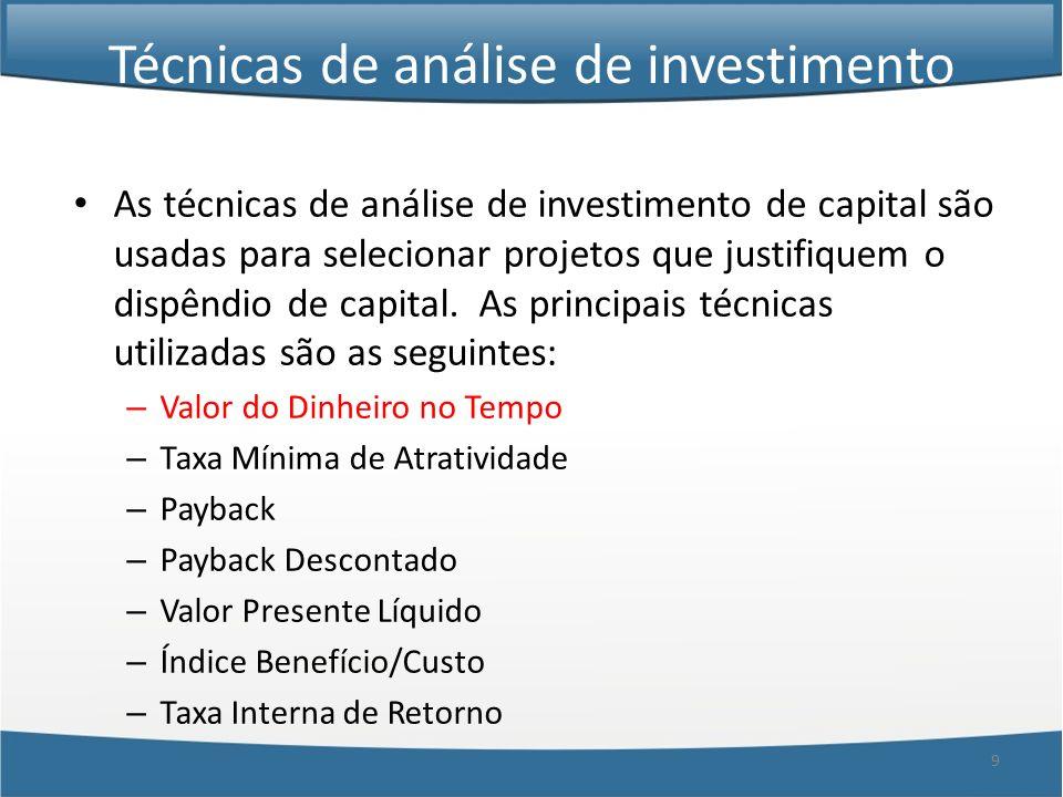30 Técnicas de análise de investimento As técnicas de análise de investimento de capital são usadas para selecionar projetos que justifiquem o dispêndio de capital.