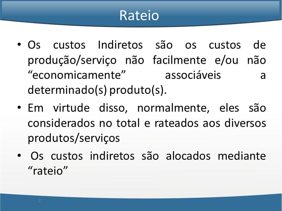 Os custos Indiretos são os custos de produção/serviço não facilmente e/ou não economicamente associáveis a determinado(s) produto(s). Em virtude disso