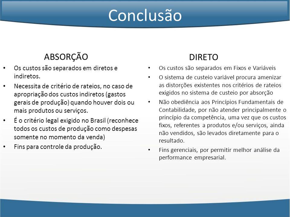 Conclusão ABSORÇÃO Os custos são separados em diretos e indiretos. Necessita de critério de rateios, no caso de apropriação dos custos indiretos (gast