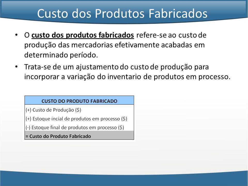 Custo dos Produtos Fabricados O custo dos produtos fabricados refere-se ao custo de produção das mercadorias efetivamente acabadas em determinado perí
