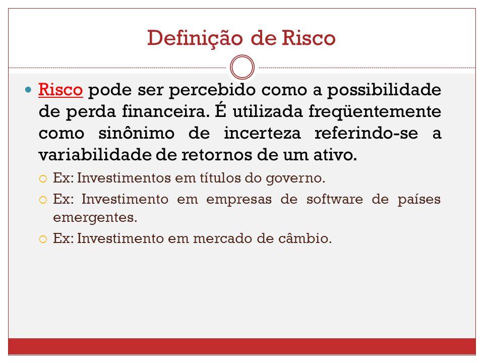 Definição de Risco Risco pode ser percebido como a possibilidade de perda financeira. É utilizada freqüentemente como sinônimo de incerteza referindo-