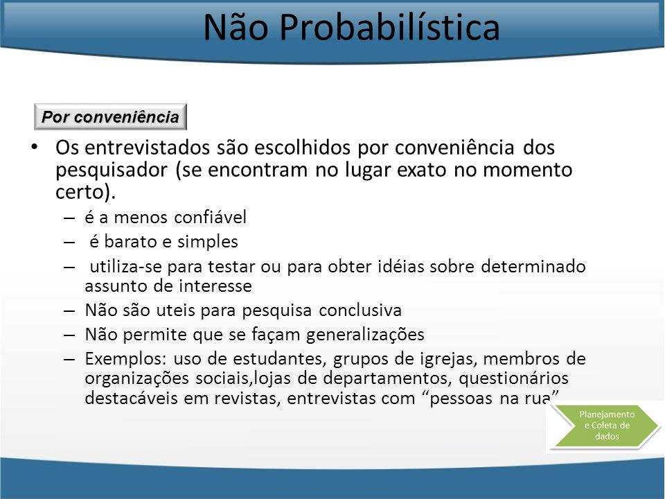 Não Probabilística Os entrevistados são escolhidos por conveniência dos pesquisador (se encontram no lugar exato no momento certo). – é a menos confiá