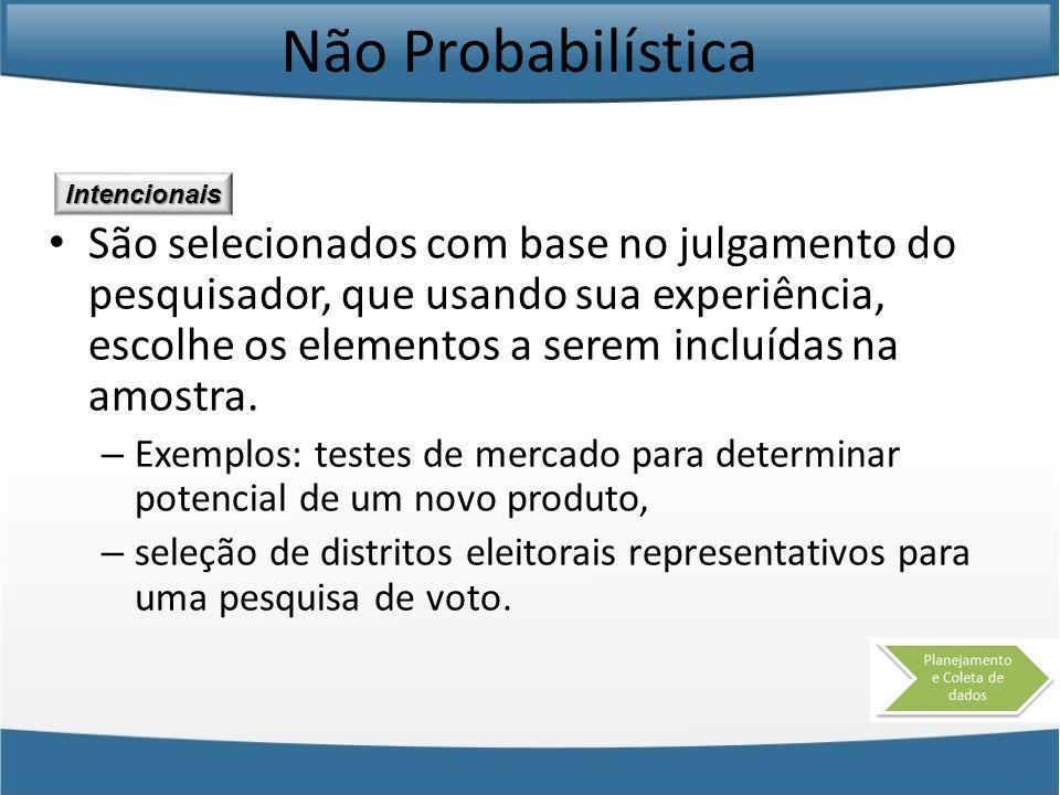 Não Probabilística São selecionados com base no julgamento do pesquisador, que usando sua experiência, escolhe os elementos a serem incluídas na amost