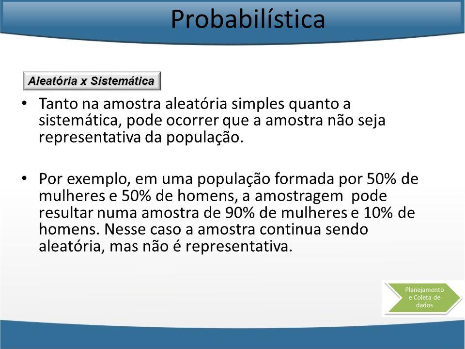 Probabilística Tanto na amostra aleatória simples quanto a sistemática, pode ocorrer que a amostra não seja representativa da população. Por exemplo,