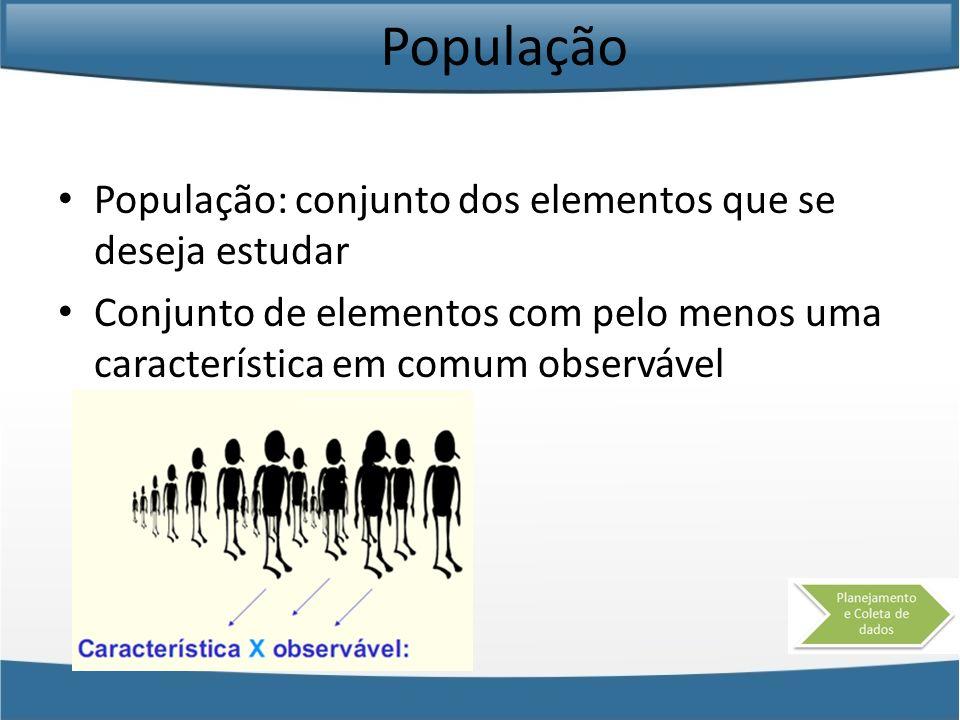 População População: conjunto dos elementos que se deseja estudar Conjunto de elementos com pelo menos uma característica em comum observável