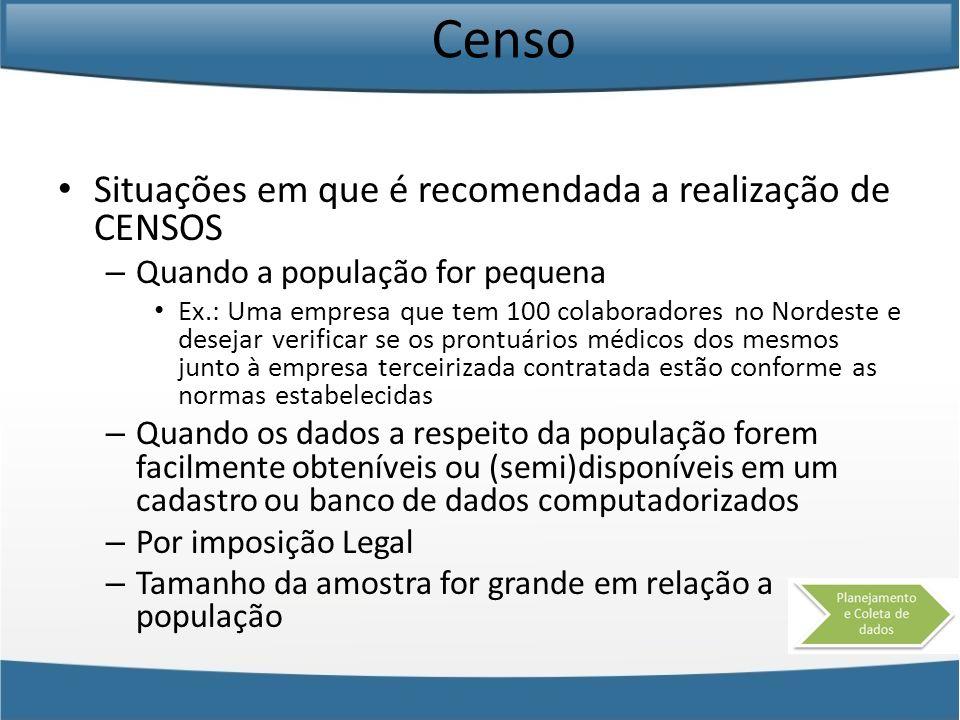Censo Situações em que é recomendada a realização de CENSOS – Quando a população for pequena Ex.: Uma empresa que tem 100 colaboradores no Nordeste e