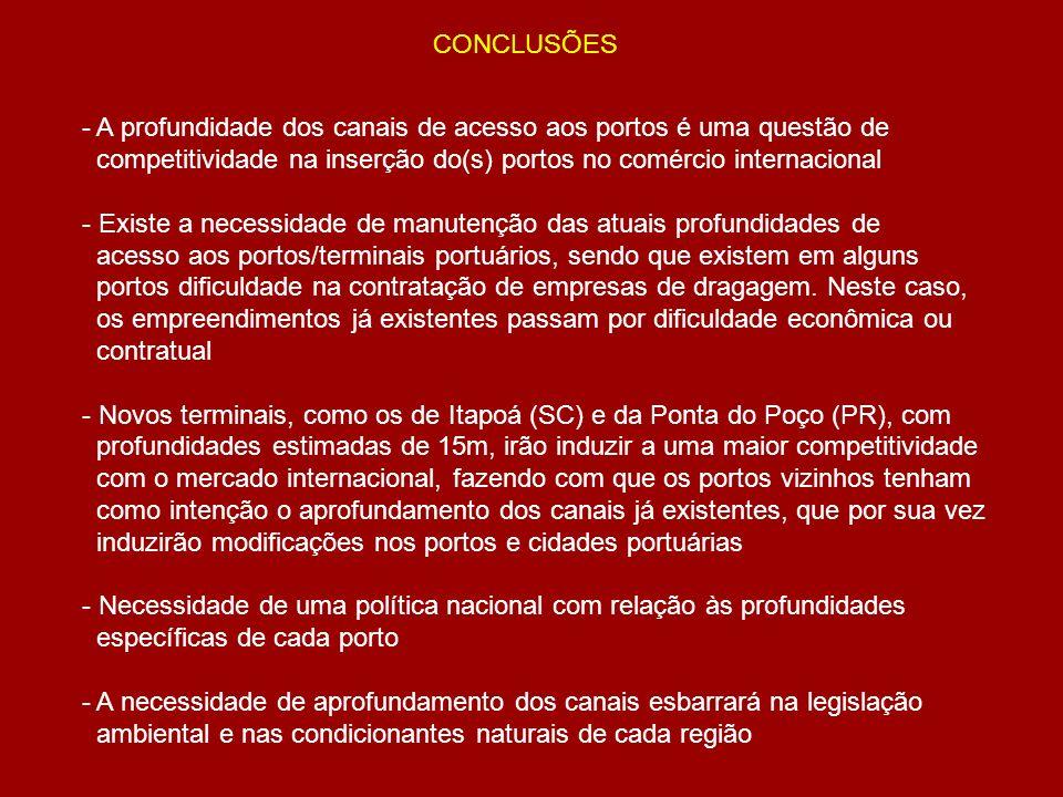 CONCLUSÕES - A profundidade dos canais de acesso aos portos é uma questão de competitividade na inserção do(s) portos no comércio internacional - Exis