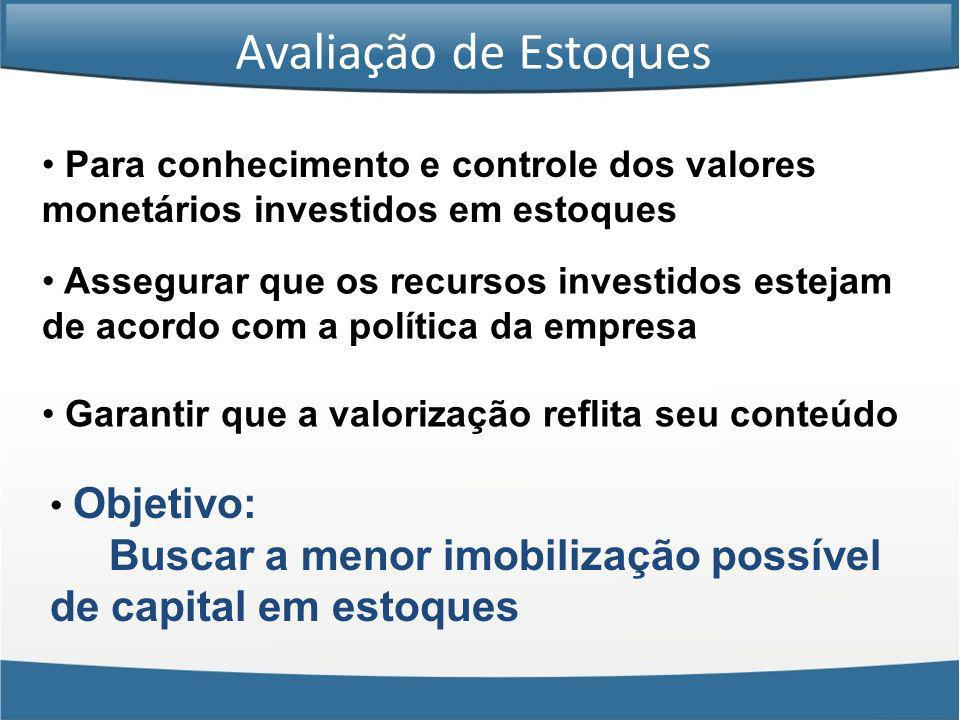 Para conhecimento e controle dos valores monetários investidos em estoques Assegurar que os recursos investidos estejam de acordo com a política da em