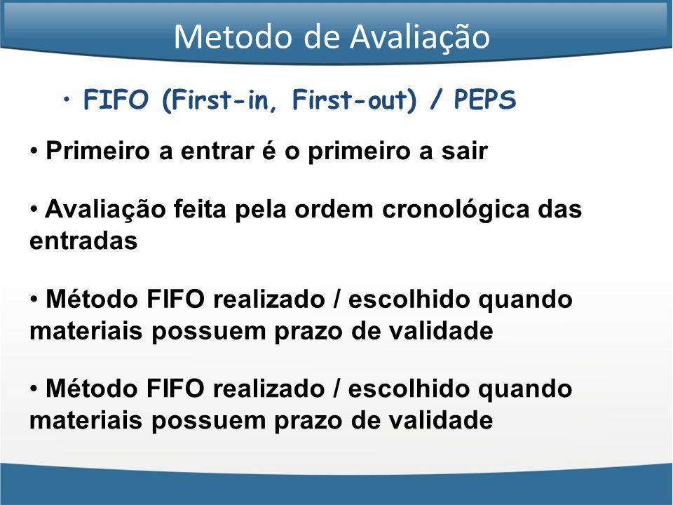FIFO (First-in, First-out) / PEPS Primeiro a entrar é o primeiro a sair Avaliação feita pela ordem cronológica das entradas Método FIFO realizado / es