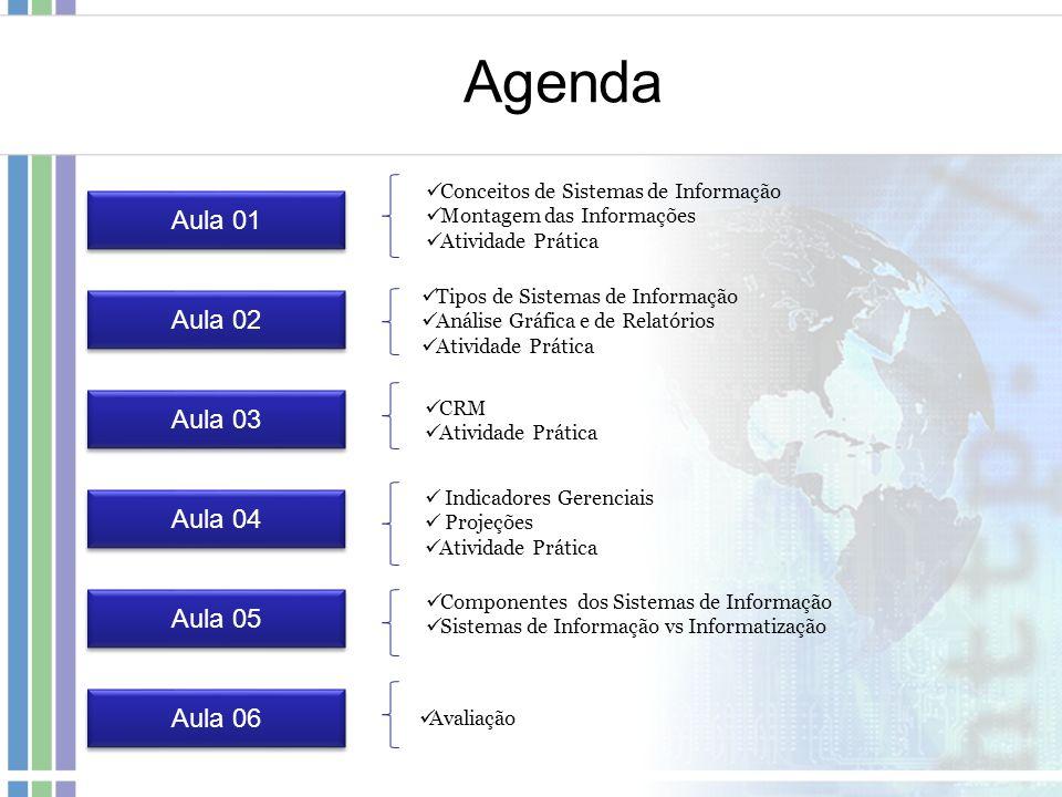 Aula 01 Tipos de Sistemas de Informação Análise Gráfica e de Relatórios Atividade Prática Aula 02 Aula 03 CRM Atividade Prática Agenda Aula 04 Aula 05