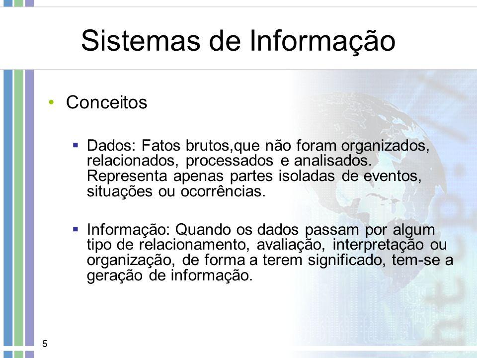 5 Sistemas de Informação Conceitos Dados: Fatos brutos,que não foram organizados, relacionados, processados e analisados. Representa apenas partes iso