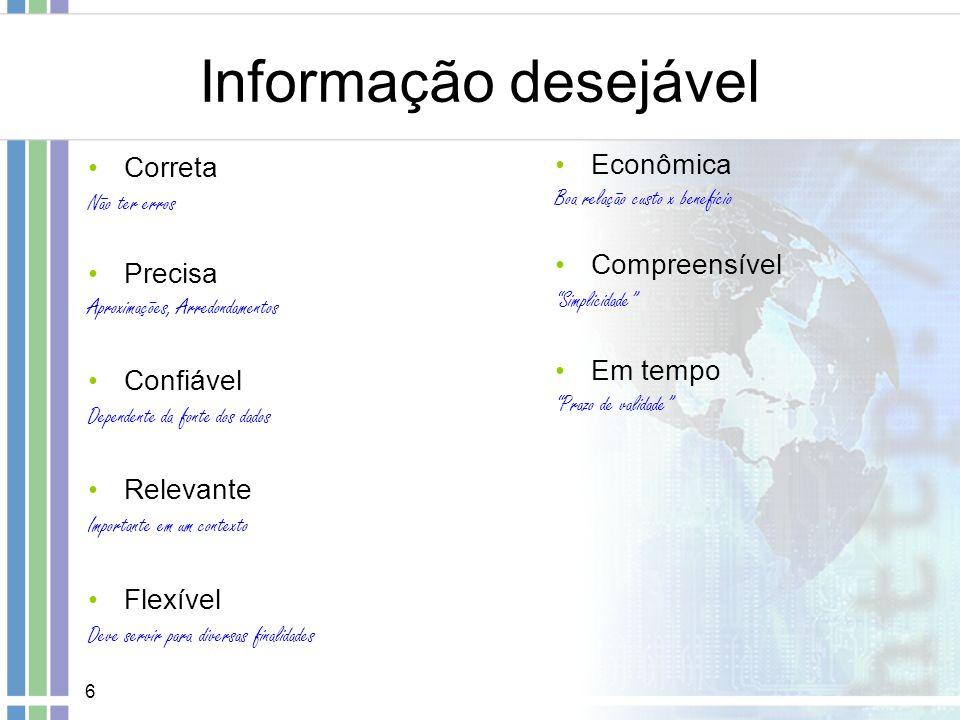 7 Sistemas de Informação A informação é capaz de gerar conhecimento Conhecimento Informação