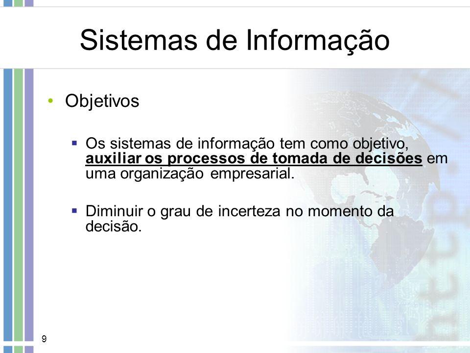 9 Sistemas de Informação Objetivos Os sistemas de informação tem como objetivo, auxiliar os processos de tomada de decisões em uma organização empresa
