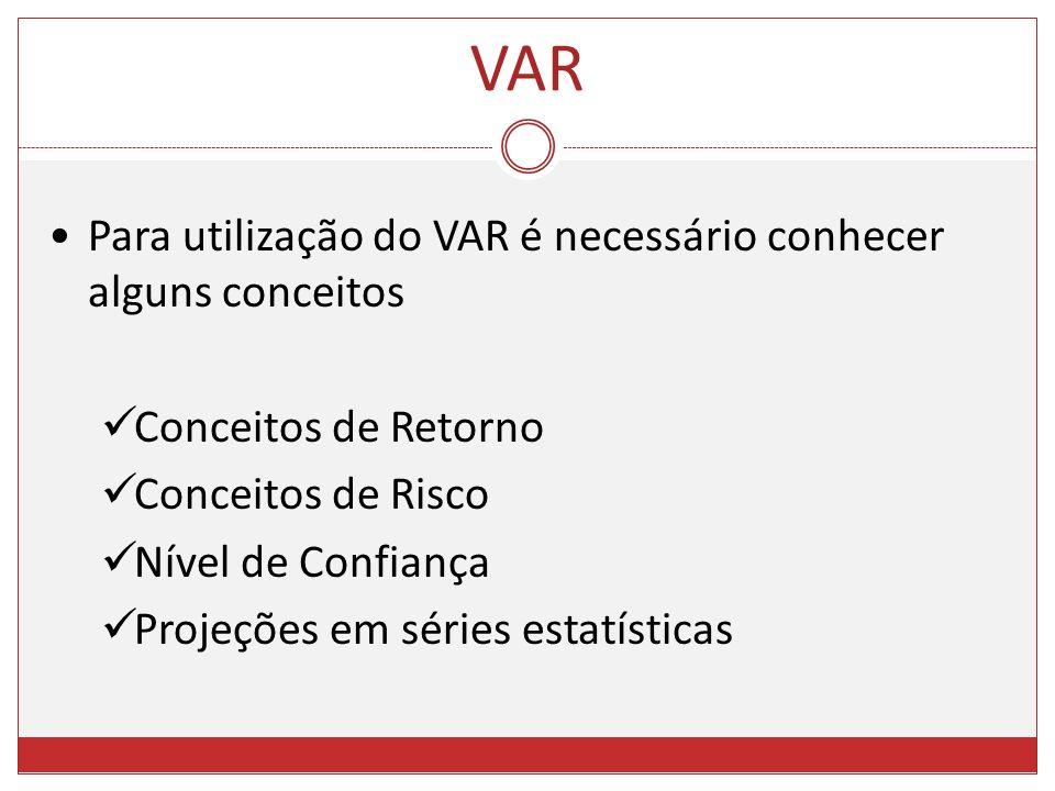 Para utilização do VAR é necessário conhecer alguns conceitos Conceitos de Retorno Conceitos de Risco Nível de Confiança Projeções em séries estatísti