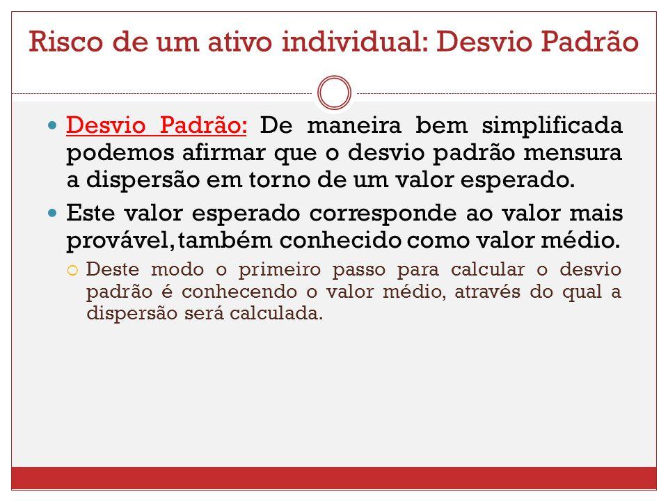 Risco de um ativo individual: Desvio Padrão Desvio Padrão: De maneira bem simplificada podemos afirmar que o desvio padrão mensura a dispersão em torno de um valor esperado.