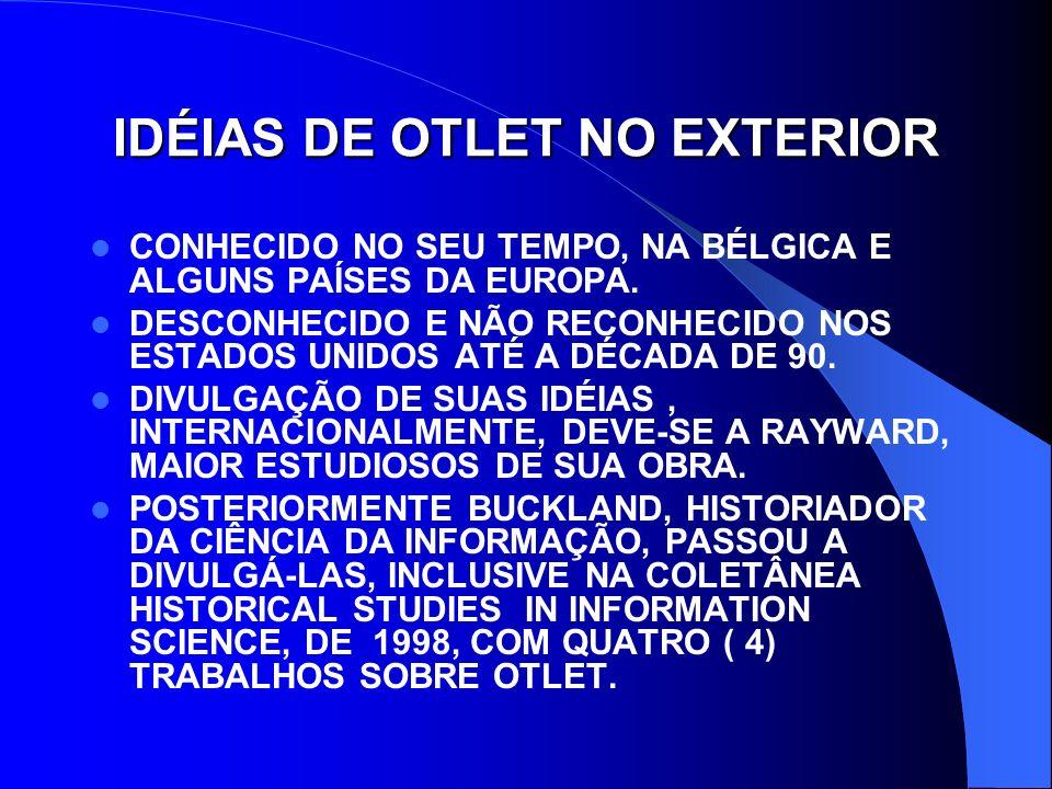 PAUL OTLET: PIONEIRO DA GESTÃO DA INFORMAÇÃO INSTITUTO INTERNACIONAL DE BIBLIOGRAFIA, 1895, FUNDADO POR OTLET E HENRI LA FONTAINE CLASSIFICAÇÃO DECIMAL UNIVERSAL – CDU FICHA BIBLIOGRÁFICA PADRÃO MICROFILME REPERTÓRIO BIBLIOGRÁFICO UNIVERSAL (RBU) - A PEDRA ANGULAR DA PAZ INTERNACIONAL TRABALHO COOPERATIVO COM A LIBRARY OF CONGRESS E O BRITISH MUSEUM (REDE DE SERVIÇOS NO FINAL DOS ANOS 30, A QUANTIDADE DE ENTRADAS CHEGAVA A 15 OU 16 MILHÕES.