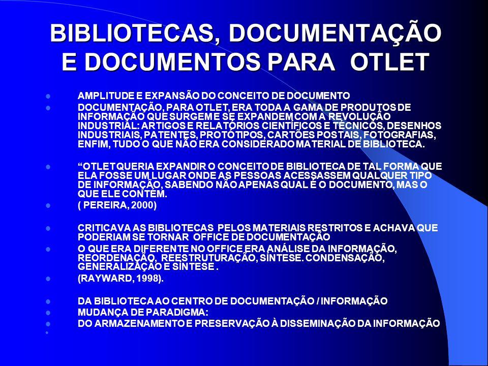 DOCUMENTAÇÃO E DOCUMENTO PARA OTLET DOCUMENTAÇÃO: UMA ABORDAGEM AMPLA PARA A ORGANIZAÇÃO DE FONTES DO CONHECIMENTO QUE FORAM CONVENCIONALMENTE ASSOCIADAS COM BIBLIOGRAFIA MEIO DE COLOCAR EM USO TODAS AS FONTES ESCRITAS E GRÁFICAS DO NOSSO CONHECIMENTO OCASIONALMENTE, OTLET UTILIZOU O TERMO INFORMAÇÃO, MAS PARA FATOS E DADOS.