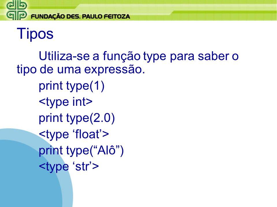 Tipos Utiliza-se a função type para saber o tipo de uma expressão. print type(1) print type(2.0) print type(Alô)