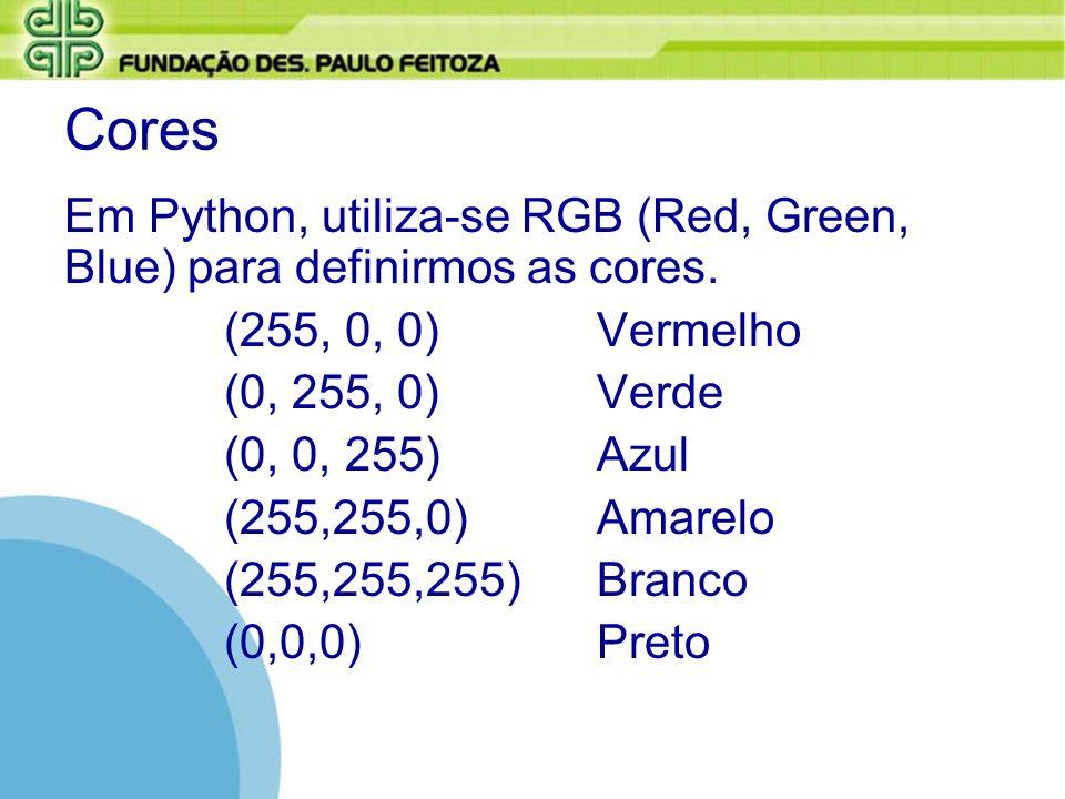 Cores Em Python, utiliza-se RGB (Red, Green, Blue) para definirmos as cores. (255, 0, 0)Vermelho (0, 255, 0)Verde (0, 0, 255) Azul (255,255,0)Amarelo