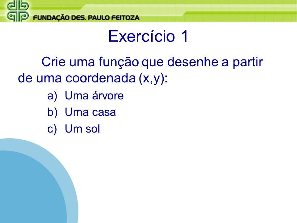 Exercício 1 Crie uma função que desenhe a partir de uma coordenada (x,y): a)Uma árvore b)Uma casa c)Um sol