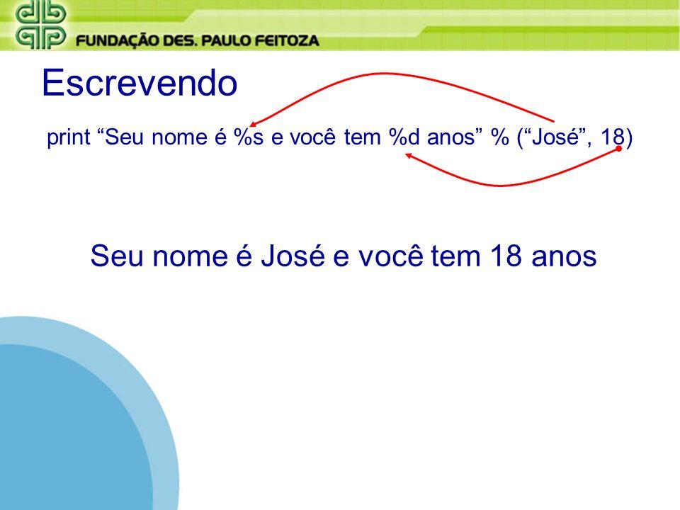 Escrevendo print Seu nome é %s e você tem %d anos % (José, 18) Seu nome é José e você tem 18 anos