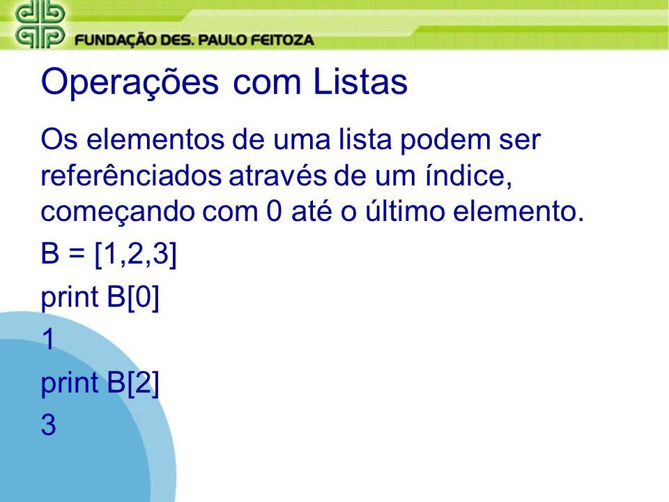 Operações com Listas Os elementos de uma lista podem ser referênciados através de um índice, começando com 0 até o último elemento. B = [1,2,3] print