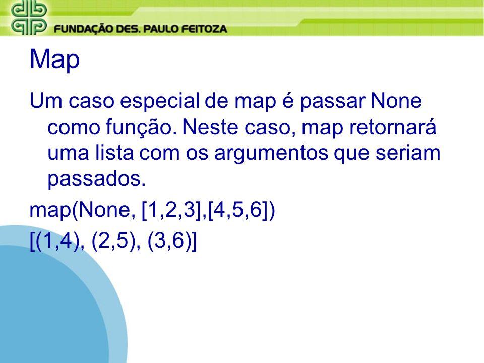 Map Um caso especial de map é passar None como função. Neste caso, map retornará uma lista com os argumentos que seriam passados. map(None, [1,2,3],[4