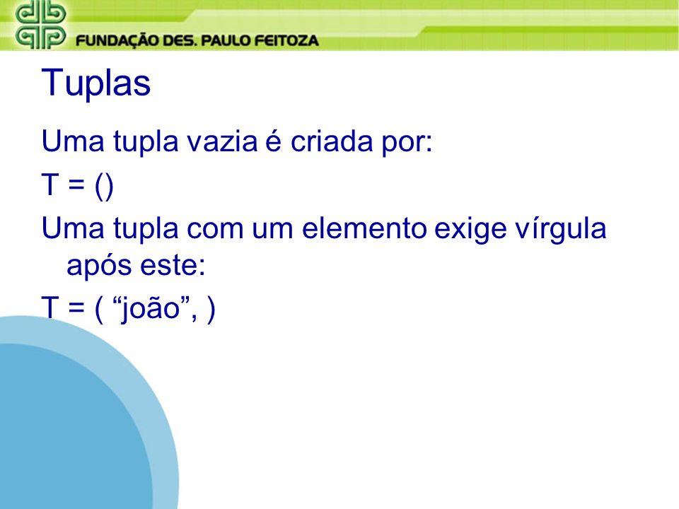 Tuplas Uma tupla vazia é criada por: T = () Uma tupla com um elemento exige vírgula após este: T = ( joão, )
