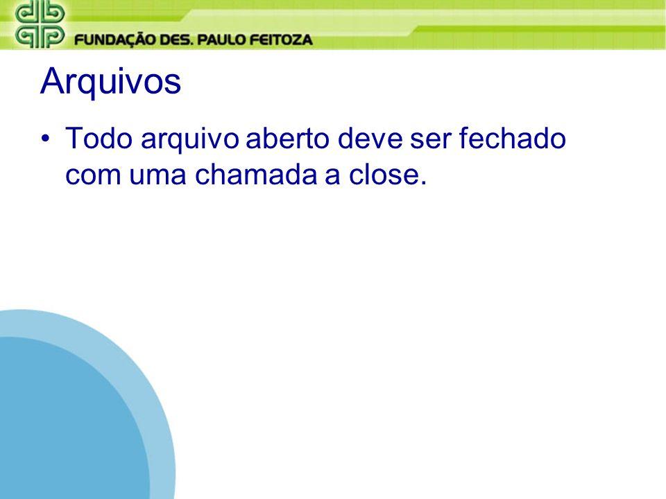 Arquivos Todo arquivo aberto deve ser fechado com uma chamada a close.