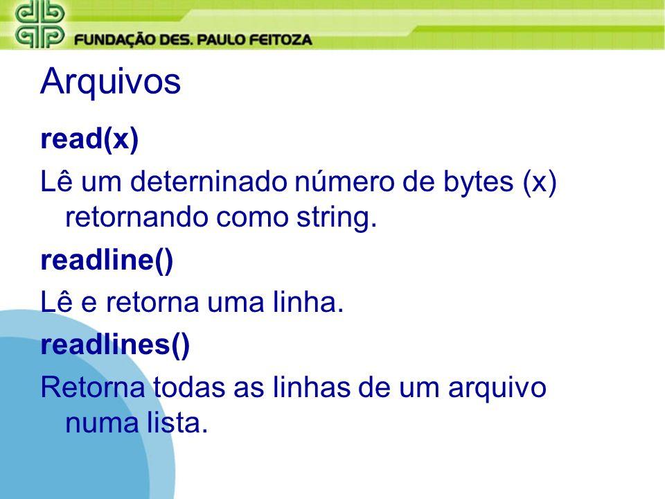 Arquivos read(x) Lê um deterninado número de bytes (x) retornando como string. readline() Lê e retorna uma linha. readlines() Retorna todas as linhas