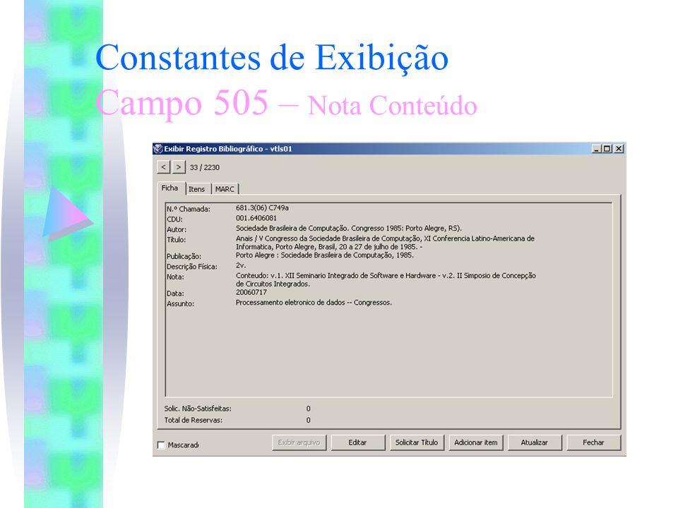 Constantes de Exibição Campo 505 – Nota Conteúdo