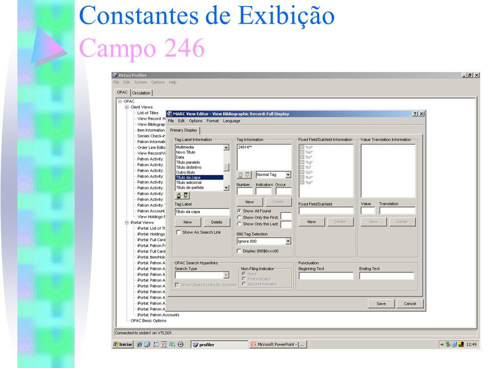 Constantes de Exibição Campo 246 Exemplo