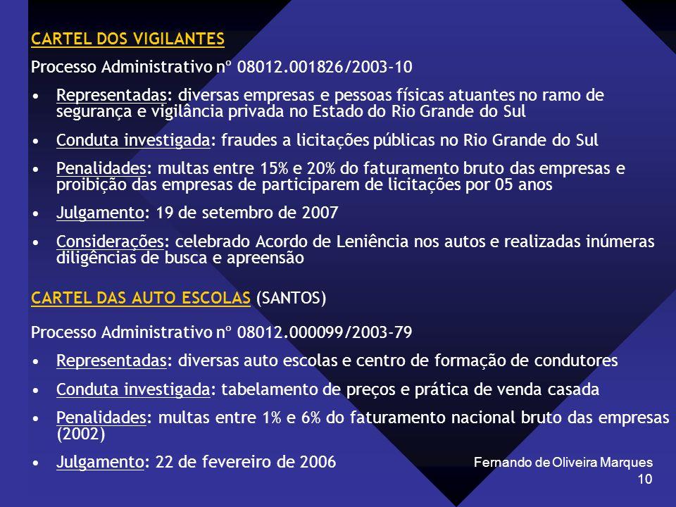 Fernando de Oliveira Marques 10 CARTEL DOS VIGILANTES Processo Administrativo nº 08012.001826/2003-10 Representadas: diversas empresas e pessoas físic